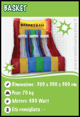 Noleggiamo Gonfiabile basket sportivo per Comunioni, eventi e Feste a Pescara, Chieti, Teramo e L'Aquila