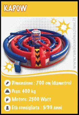 Noleggio attrazione meccanica KAPOW per Giochi senza Frontiere
