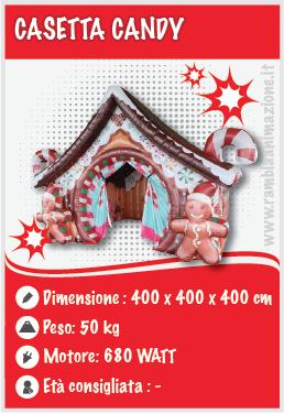 Casetta candy gonfiabile per eventi di Natale o tematici